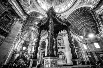 Interior of St. Peter's Basilica, Vatican, Rome, Italy.