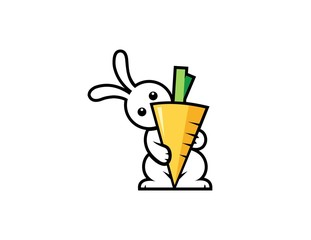 rabbit carrot vector logo,hare funny symbol icon