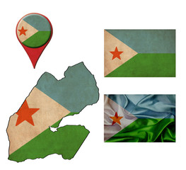 grunge Djibouti flag, map and map pointers