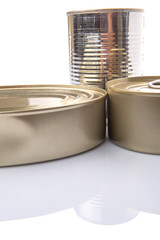 Tin cans over white background
