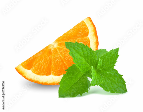 canvas print picture orange slice AND MINT