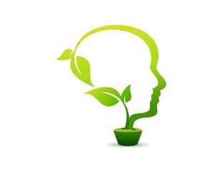 person ecology logo,people think,go green idea,head pot plants