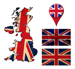 UK flag, map and map pointers