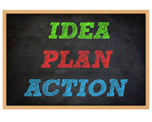 IDEA, PLAN, ACTION - handwritten concept chalkboard