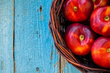 fresh organic nectarines flat in a basket