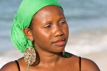 African woman looking interested