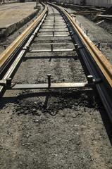 Schienen Bauarbeiten in der Stadt