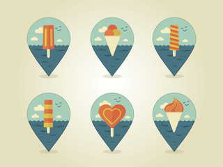 pin map icons ice cream