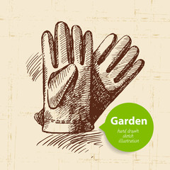 Vintage sketch garden background. Hand drawn design
