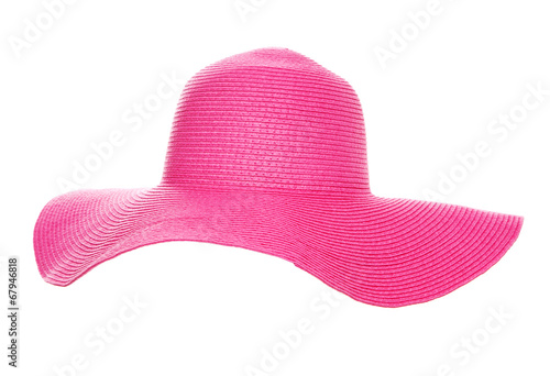 Fotobehang Ontspanning Summer beach hat isolated on white background