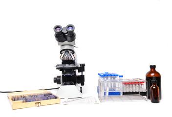 microscope with laboratory equipment