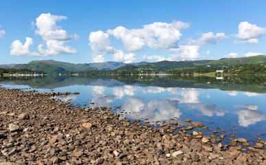 England lake District Ullswater with mountains and blue sky