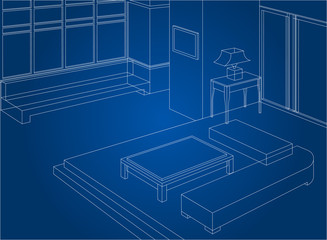 Wireframe living room interior scene background