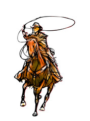 cowboy color illustration