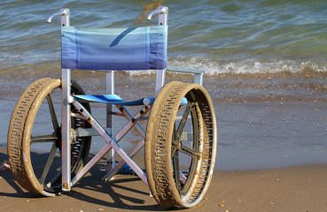 wheelchairs for disabled people on the beach