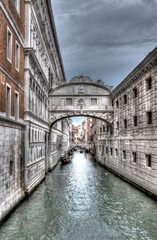 bridge of sighs in Venice in black and white in HDR