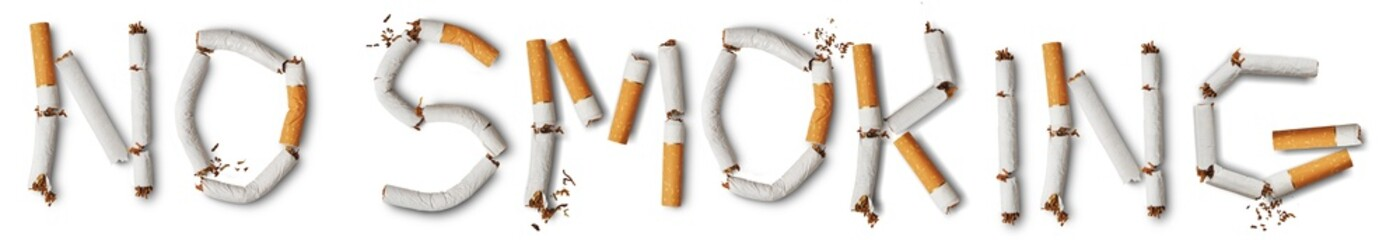 Text ''no smoking'' made from broken cigarettes