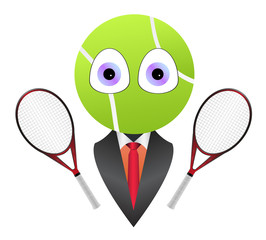 Cartoon business tennis mascot