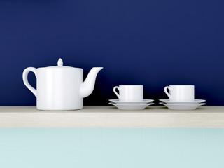 Ceramic kitchenware on shelf.