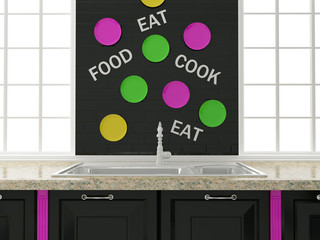 Black kitchen design.
