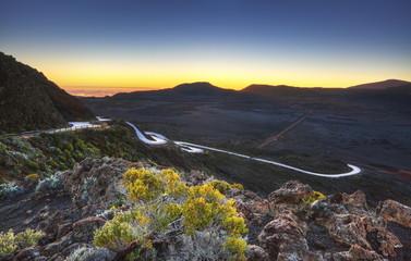 Lever du jour à la Plaine des Sables, La Réunion.