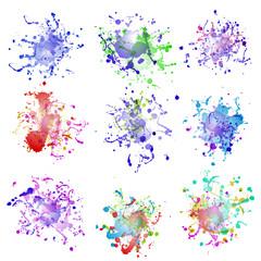 Colorful paint splashes on white. plus EPS10