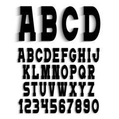 Black alphabet letters with shadow and numbers