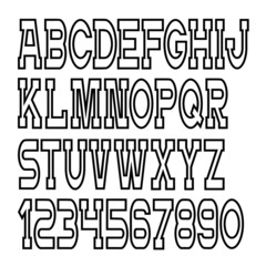 Vector alphabet letters, numbers