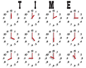 Vector set of  clocks with transparent shadow