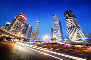 night traffic in Shanghai Lujiazui Finance centre