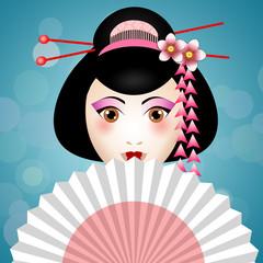Geisha face with fan
