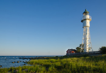 Hogby lighthouse by the coast of Baltic Sea in Sweden