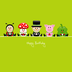 Birthday Card 5 Cartoons Gifts Green