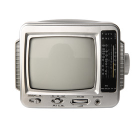 Mini analog television with transistor radio isolated clipping p