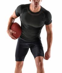 Retrato de un jugador de rugby en fondo blanco.Corriendo.