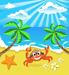 Happy crab in hat with star and flowers, on the southern island