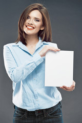 Smiling business woman show white blank card for sign.