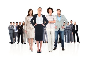 Composite image of business team looking at camera