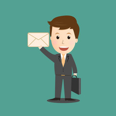 Vector of businessman holding mail