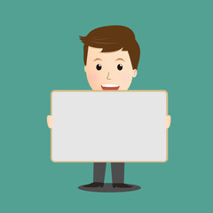 Vector of businessman holding whiteboard
