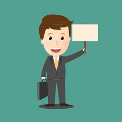 Vector of businessman holding board