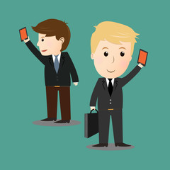 Vector of businessman selfie photo