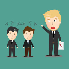 Vector of businessman with angry boss