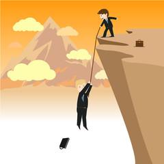 Vector of businessman help his partner