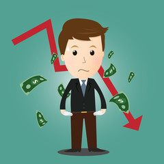 Vector of businessman lost his money in investment.concept