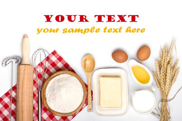Baking ingredients with text space isolated on white