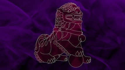 China - Komainu - Pink & Purple