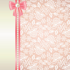 card with white lace on pink background