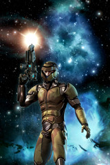Futuristic soldier and starfield with nebula and sun
