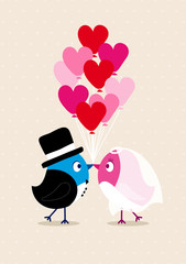 Wedding Couple Birds Heartballoons Beige